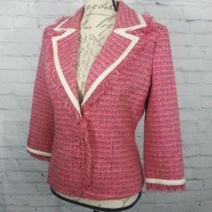 Arden B Sz 8 Pink Tweed Fringe Blazer Jacket Lined